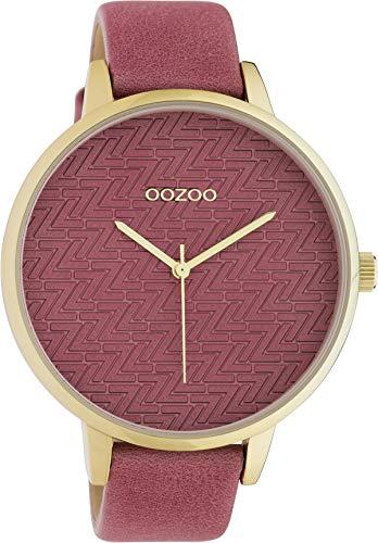Oozoo Modische Damenuhr mit Lederband Quarz 45 MM Rose/Rose C10405