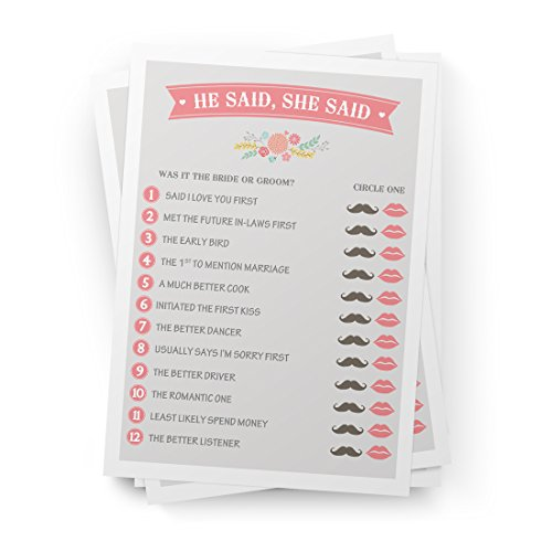 Printed Party He Said She Said Bridal Shower Game, Wedding, Bridal Shower, and Anniversary Favors, Games, Activities, and Decorations, 50 Sheets