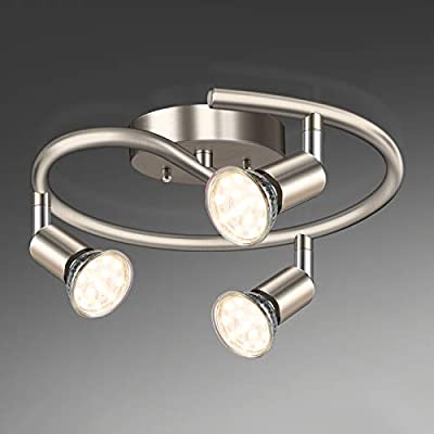 Unicozin 3-Light Spiral LED Track Lighting Kit, Matt Nickel 3 Way Ceiling Spot Lighting, Included 3 x GU10 LED Bulbs (4W, Warm White 2700K, 400LM, Non-Dimmable), Rotatable Light Head Track Light