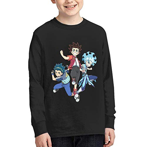 Bey-Blade Bur-St Long Sleeve Cotton O Neck T-Shirt for Boys and Girls Black