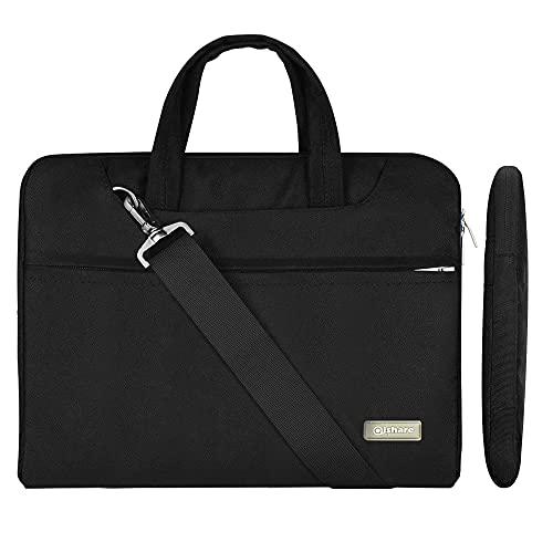 Qishare 13,3-14-Zoll-Laptoptasche,multifunktionale Polyester-Laptoptasche, Verstellbarer Schultergurt & unterdrückter Handgriff, tragbarer Dokumentenordner (13,3-14Zoll, schwarz)
