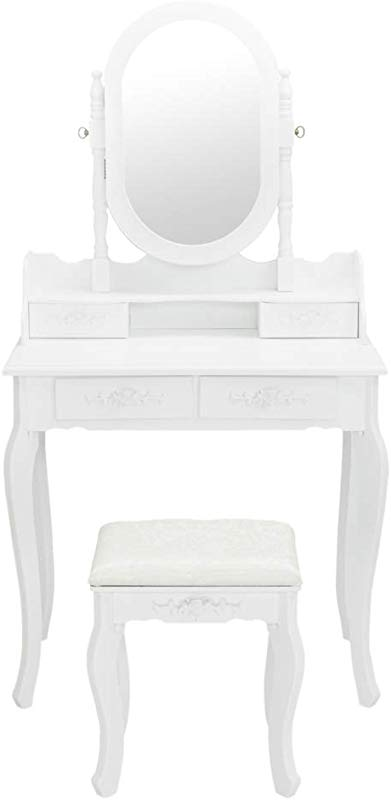 Bonnlo White Vanity Set Princess Girls Vanity Table With Jewelry Cabinet Jewelry Armoire Makeup Dressing Table With Cushioned Stool