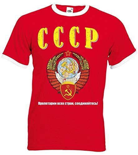 aprom CCCP Ringer T-Shirt Fußball Trikot D04 Red (L)