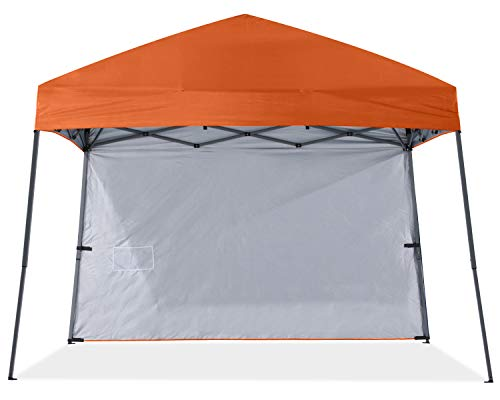ABCCANOPY Outdoor Pop Up Canopy Beach Camping Canopy with 1 Sun Wall, Bonus Backpack Bag, Stakes and Ropes,Orange
