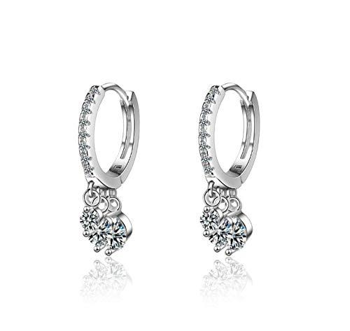NOBRAND Pendiente de aro de Plata esterlina 925 Pendiente de Cristal para Mujer Nueva joyería de Oreja de Moda