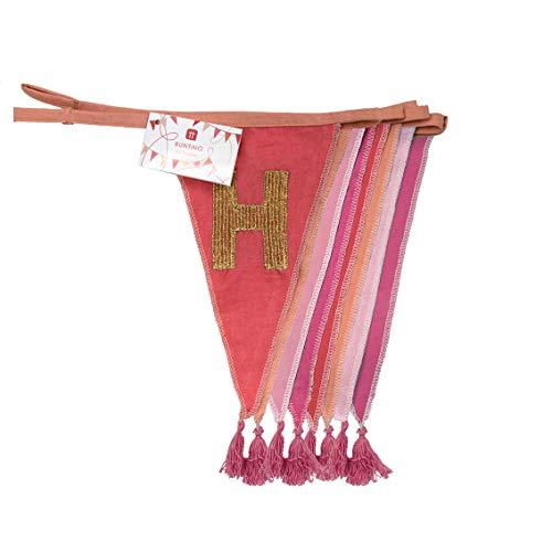 Banderines de tela rosa de feliz cumpleaños - 3m | Guirnalda de bandera triangular, 100% algodón, para niñas, interior o exterior, decoraciones reutilizables para fiesta de cumpleaños