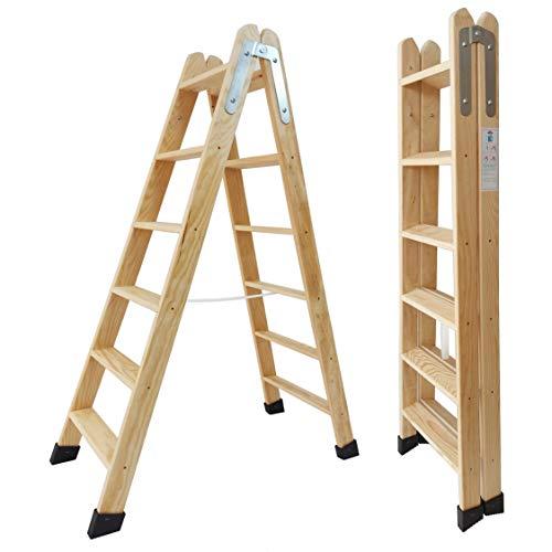 Escaleras Tijera de Madera Pino Doble Subida Certificadas. Ideal para Profesionales Pintor, Escayolista, Electricista o hasta para su hogar! (6 Peldaños)