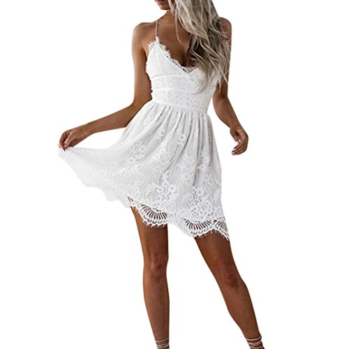 Kleid Damen Kolylong® Frauen Elegant Spitze Ärmelloses Kleid Knielang Vintage Neckholder Spitzenkleid Slim Bleistift Kleid Ballkleid Etuikleid Strandkleid Cocktail Party Kleid Abendkleid (White-B, L)