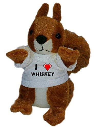 Personalisiertes Eichhörnchen Plüsch Spielzeug mit T-shirt mit Aufschrift Ich liebe Whiskey (Vorname/Zuname/Spitzname)