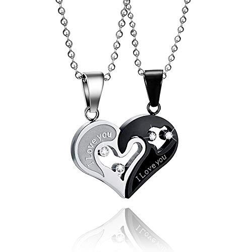 WikiMiu Kette Damen Herren, Edelstahl Halskette Herz Form Stichsäge mit Gravur