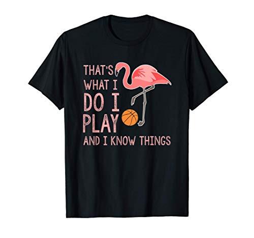 Flamingo Juego y Sé Cosas Amante del Baloncesto Camiseta