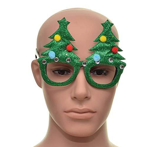 Shatchi - Occhiali di Natale con montatura verde a forma di albero di Natale, accessori per feste, per selfie, foto, calze della Befana