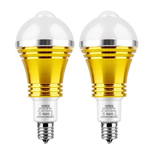 CLY LED電球 人感センサーライト E17口金直径17mm センサー電球 防犯ライト 電球色2700K 光明暗センサー LED 電球 赤外線センサー PIR動体感知点灯 自動消灯 省エネ 7W 60W形相当 2個セット
