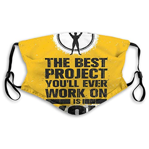 The Best Project is You Phrase with Weightlifter Fit Body Concept,Face Mask Reusable Washable Masks Cloth for Men and Women