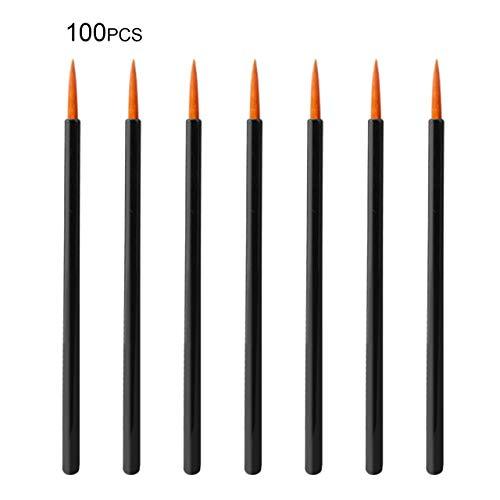 100pcs / lot maquillage jetables pinceaux eyeliner applicateur individuel Superfine fibre coton tige outil de maquillage accessoires cosmétiques (noir et orange) FRjasnyfall