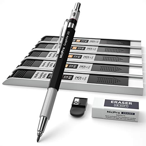 Nicpro 20 mm Mechanical Pencil Set Metal Lead Holder with 5 Tube Graphite Lead Refill HB 2H 4H 2B 4B Eraser Sharpener for Draft Drawing Writing Crafting Art Sketching