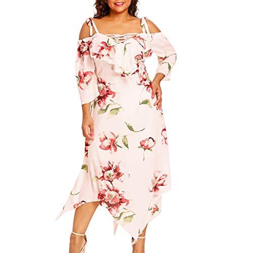 VEMOW Plus Size Elegante Damen Frauen Casual Kurzarm Kalt Schulter Boho Blumendruck Casual Täglichen Party Strand Langes Kleid Schulterfrei Strandkleid(X5-a-Beige, 46 DE/XL CN)