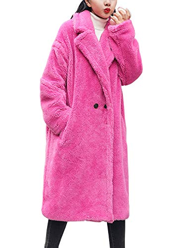 ebossy Women's Lapel Collar Relaxed Faux Fur Long Coat Winter Chunky Warm Overcoat (Large, Hot Pink)