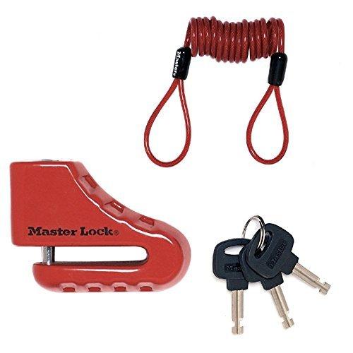Master Lock Cadenas Antivol Bloque disque de frein pour moto/scooter/2-roues, antivol avec corde de rappel