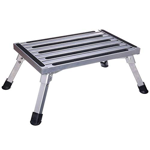 Plataforma de trabajo, Escalones de plataforma plegables de aluminio, Escalera de banco portátil RV Step Up, Diseño antideslizante, Escalera portátil para remolque / vehículo