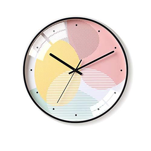 Yang1mn.clock Nórdicos Simples Amarillo Reloj De Pared De Cristal De Color Rosa Minimalista Y Materiales Metálicos Relojes Electrónicos Personalidad Creativa Campana Muda El Tamaño De 35cm * 35cm * 4.
