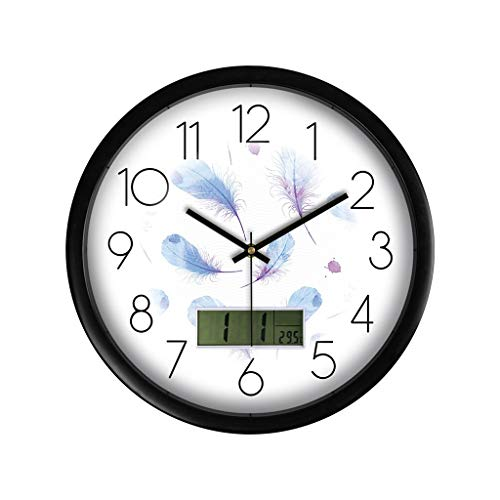 QTBH Reloj de Pared Pantalla LCD multifunción Reloj de Pared Sala de Estar Dormitorio Reloj de Pared de Cuarzo Mesa Colgante Reloj de Pared silencioso (Color : C)