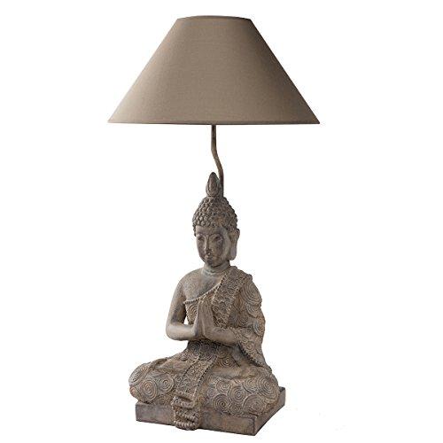 Lampe Bouddha abat-jour kaki 36x36x67cm