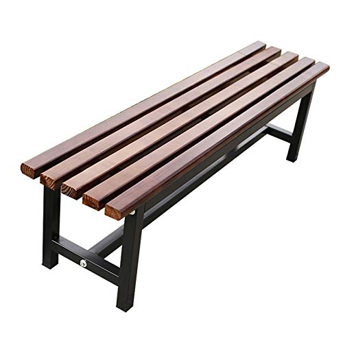 Outdoor park bench garden bench, 3-seater weatherproof terrace bench without backrest, Cast aluminum frame and anticorrosive solid wood, Shoe changing stool for lawn decoration bench dressing room