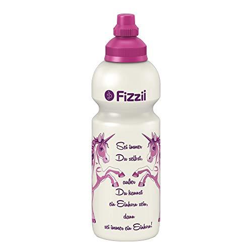 Fizzii Kinder- und Freizeittrinkflasche 600 ml (auslaufsicher bei Kohlensäure, schadstofffrei, spülmaschinenfest, Motiv: Einhorn)