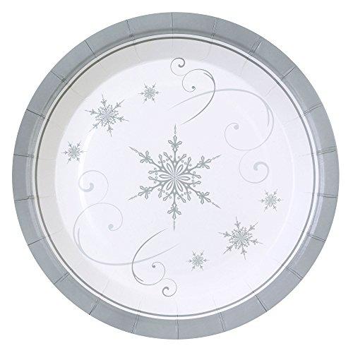 Neviti Lot de 8 assiettes en forme de flocons de neige scintillants en bois, multicolores, 23 x 23 x 1,5 cm