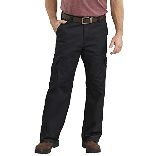 Dickies Men's Loose-Fit Cargo Work Pant, Black, 34W x 32L