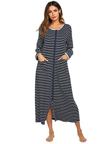 Ekouaer Women Long Sleeve Zip-Front O-Neck Bathrobe Sleepwear Long Robe