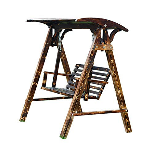 Balancelles avec auvent Siège de balançoire Chaise pivotante balançoire de Jardin à Double balançoire en Bois Occasionnel Fauteuil à Bascule extérieur Chaise (Color : Brown, Size : 120 * 140 * 160cm)