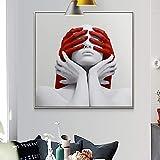 Cuadro De Pared Rojo Y Blanco Mujer Desnuda Arte Lienzo Pintura Ansiedad ExpresióN Cartel E Impresiones DecoracióN Del Hogar 60x60 Cm Sin Marco