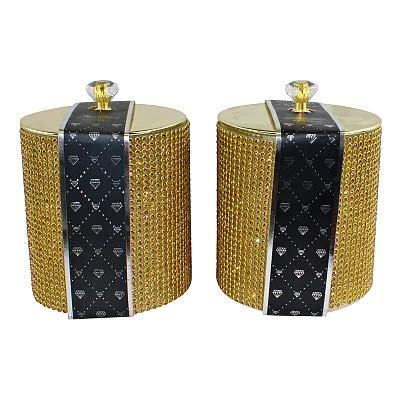 Set of 2 Gold Diamante Decorated Candle Jars, Fragranced 9 x 11.5 x 18cm