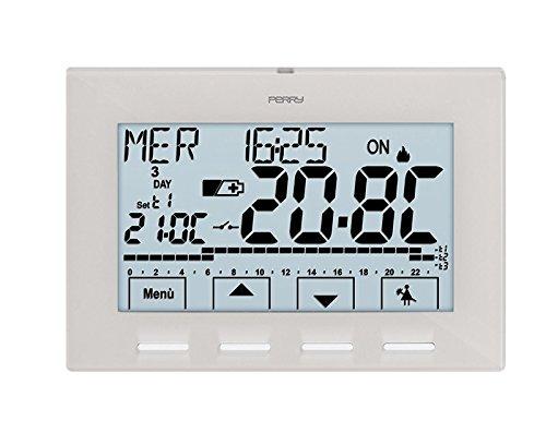 Cronotermostato digitale modello 1CRCR028B Perry con programmazione Settimanale, Inverno - Estate 3 livelli di temperatura colore bianco