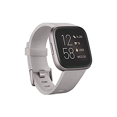 Fitbit Versa 2 Health & Fitness Smartwatch with Heart Rate, Music, Alexa Built-in, Sleep & Swim Tracking, Stone/Mist Grey, One Size (S & L Bands Included) by AmazonUs/FITEZ