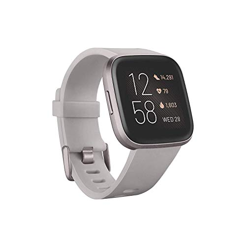 Fitbit FB507GYSR Versa 2 Health & Fitness Smartwatch with Heart Rate, Music, Alexa Built-in, Sleep & Swim Tracking, Stone/Mist Grey, One Size (S & L Bands Included) (Stone/Mist Grey)