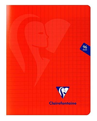 Clairefontaine 333741C Un Cahier Agrafé Mimesys Rouge - 17x22 cm 96 Pages Grands Carreaux Papier Blanc 90 g - Couverture Polypro