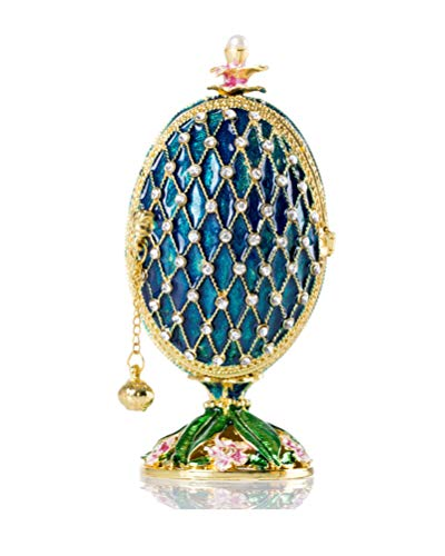 SEVENBEES Vintage Enameled Faberge Egg Jewelry Trinket Box Hinged Collectible Figurines for Ring,Earrings