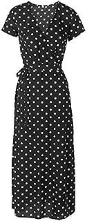 QGTDRESS Summer V-Neck Sexy Split Wave Point Dress, Size: XL(White Short Sleeve) (Color : Black Short Sleeve)