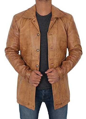 Decrum Brown Cafe Race Slim Genuine Car Coat Leather Jacket for Men | [1501483] Super Camel, M