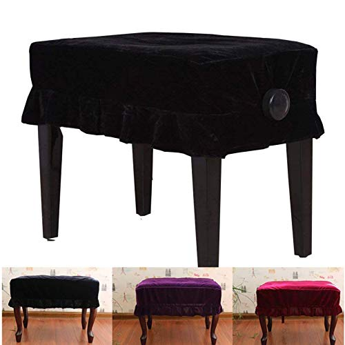 Monkeysell Piano Bench Stool Cover Adjustable Wooden Piano Bench Stool Cover Decorated with Pleuche for Piano Single Seat Bench Universal (Black Single Stool Cover)