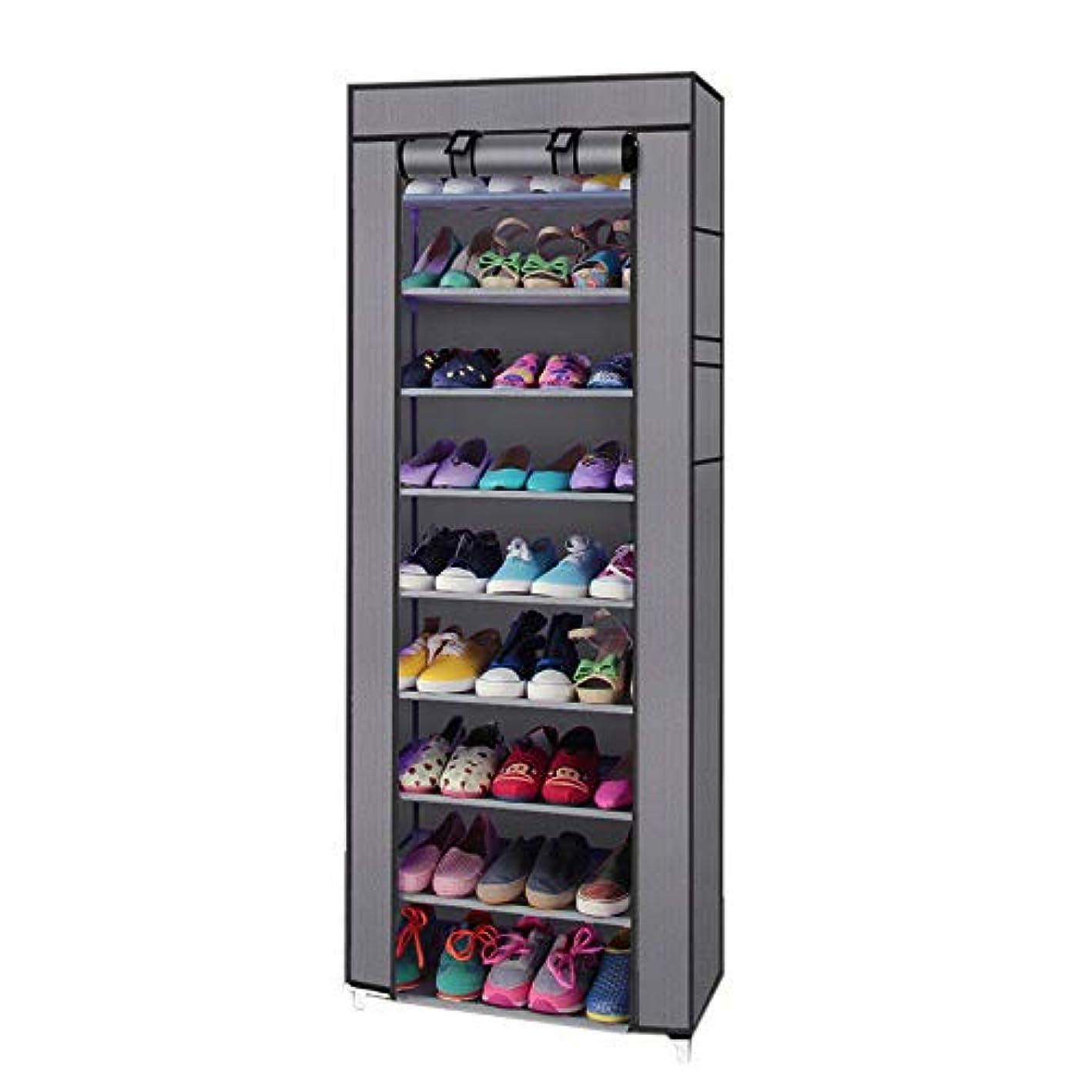 ANA Store 10 Layer Footwear Gray Cabinet 9 Grid Shoe Rack Shelf Dustproof Cover Closet Portable Organizer Shelf Stand