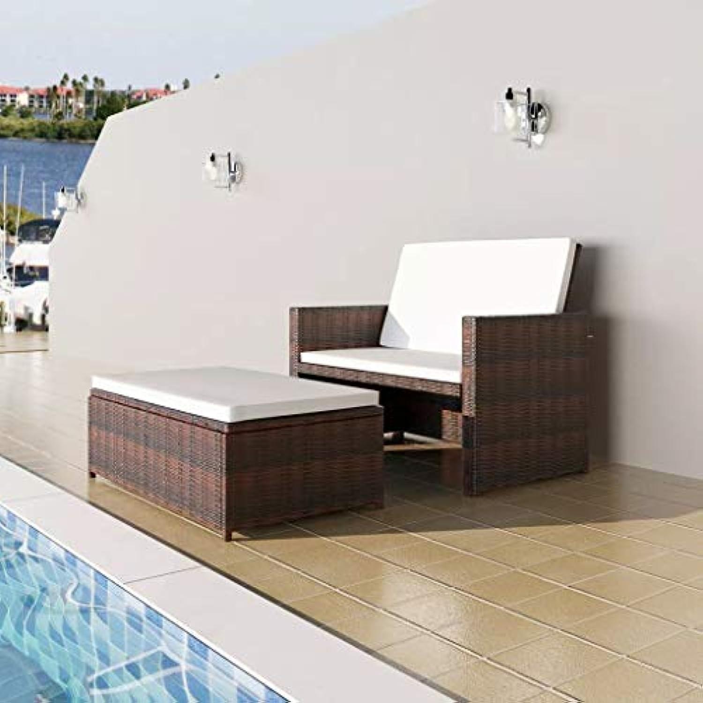 Mewmewcat 3 in1 Rattan Lounge Set Polyrattan Loungembel Loungeset Loungegruppe Braun