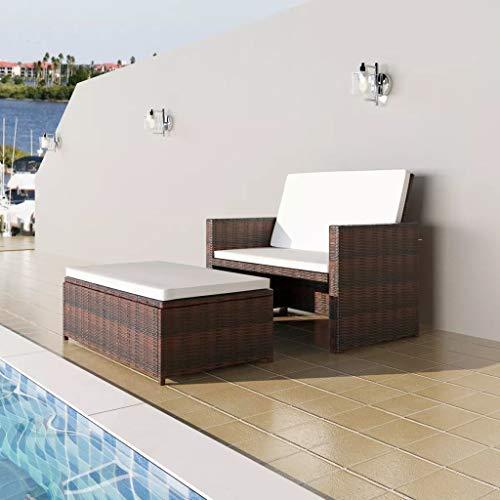 3 in1 Poly Rattan Braun Lounge Gartensofa Gartengarnitur, Rattan-Lounge, Indoor & Outdoor, 2er Garten-Sofa inkl. Kissen & Auflagen,Sofa-Set Garnitur Gartenmöbel Couch-Set - 2