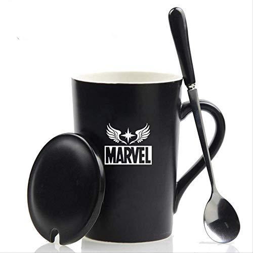 FHFF Taza de Cafe Taza con Tapa Cuchara 420 Ml Los Vengadores Taza De Café De Cerámica Iron Man Capitán Marvel Copas Y Tazas para Regalo2
