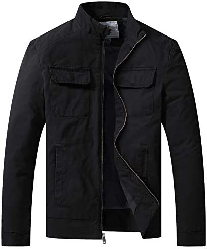 WenVen Men s Fall Cotton Canvas Lightweight Casual Military Jacket Black L product image