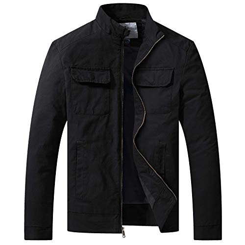 WenVen Men's Fall Cotton Canvas Lightweight Casual Military Jacket, Black,M