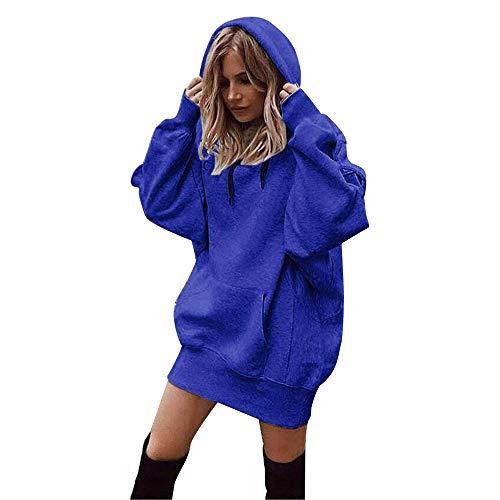 TIMEMEAN Frauen-Normallack-Pullover-Mantel Damen Hoodies Sweatshirt (Groß, Blue)